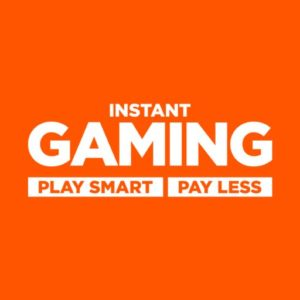 Image That Represents The Instant Gaming Concept- Play More and Pay less in an Orange Background. Popularity Of Multiplayer Games